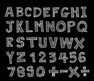Hand drawn letters font Stock Images