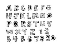 Hand drawn letters font Stock Photography