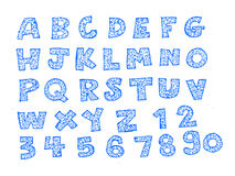 Hand drawn letters font Stock Photos