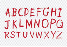 Hand drawn letters font written with a pen Stock Photography