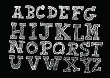 Hand drawn letters font written with a pen Stock Image