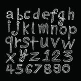 Hand drawn letters font written with a pen Stock Photos