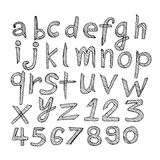 Hand drawn letters font written with a pen Royalty Free Stock Image