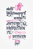 Hand drawn letters, numbers, signs. Royalty Free Stock Photography