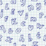 Hand drawn letters seamless pattern. 3d hand drawn scattered letters seamless pattern. Vector background illustration in blue over squared notebook sheet Stock Photography