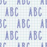 Hand drawn Abc seamless pattern. Hand drawn letters seamless pattern. Vector background illustration in blue over chequered notebook sheet. Education school vector illustration