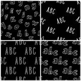 Hand drawn Abc seamless pattern. Hand drawn letters seamless patterns set. Vector background illustrations in white over black. Education school wallpaper stock illustration