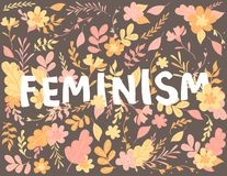 Hand-drawn Letters, Text Feminism, Flowers And Plants, Colorful Illustration Stock Photos