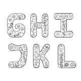 Hand drawn letters on white background Stock Image