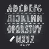 Hand drawn letters writing on black school chalkboard. Vector alphabet. For school, illustration of abc white letter Stock Photos