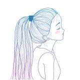 Hand-drawn leuk meisje met paardestaart Stock Fotografie