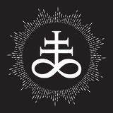 Hand drawn Leviathan Cross alchemical symbol for sulphur, associated with the fire and brimstone of Hell. Black and white isolated. Vector illustration stock illustration
