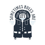 Hand drawn life vest textured vector illustration. Royalty Free Stock Image
