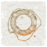 Hand drawn lifebuoy on grunge paper background Stock Image