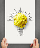 Hand drawn light bulb with crumpled paper ball Royalty Free Stock Photography