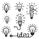 Hand drawn light bulb icons Royalty Free Stock Photo