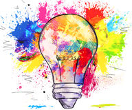 Hand-drawn light bulb over colorful blots of paint. Hand-drawn light bulb over bright colorful blots of paint, on white, concept of creativity and innovation Stock Photo