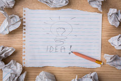 Hand drawn light bulb on paper Royalty Free Stock Photography