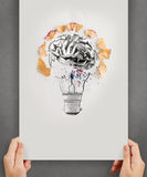 Hand drawn light bulb with pencil saw dust. And 3d brain icon on paper background as creative concept Royalty Free Stock Photography