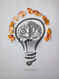 Hand drawn light bulb with pencil saw dust. And 3d brain icon on paper background as creative concept Royalty Free Stock Photos