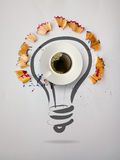 Hand drawn light bulb with pencil saw dust. And 3d cup of coffee on paper background as creative concept Royalty Free Stock Image