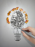 Hand drawn light bulb with pencil saw dust. Hand drawing light bulb with pencil saw dust and 3d brain icon on paper background as creative concept Stock Images