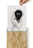 Hand drawn light bulb with THINK word Royalty Free Stock Photography