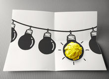 Hand drawn light bulb on wire doodle Royalty Free Stock Photos