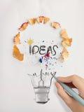 Hand drawn light bulb word design IDEA Stock Photography