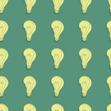 Hand-drawn light bulbs. Hand-drawn light bulb pattern Stock Photos