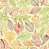 Hand-drawn light seamless pattern with leaves Royalty Free Stock Photography