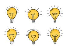 Hand Drawn Lightbulbs Stock Photography