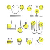 Hand drawn lighting line icons Stock Photos