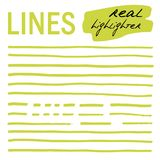 Hand-drawn lijnen - echte highlighters Stock Fotografie
