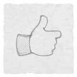 Hand Drawn Like symbol, Thumbs Up Hand drawing. Hand-drawn  of hand giving a thumbs up. Vector illustration of a like symbol Royalty Free Stock Image