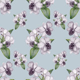 Hand-drawn Lilac Orchid Vintage Seamless Pattern Stock Photos