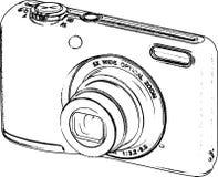 Hand Drawn Line Art Camera Sketch /eps Royalty Free Stock Photos