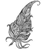 Hand drawn line art of feather with ornaments Royalty Free Stock Photos
