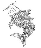 Hand drawn line art of fish Koi carp. Vector isolated. Idea for tattoo and coloring books Royalty Free Stock Image