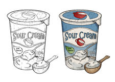 Hand drawn line art illustration of sour cream with wooden spoon Royalty Free Stock Photos