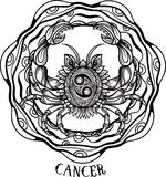 Hand drawn line art of zodiac cancer. Vector Royalty Free Stock Photo