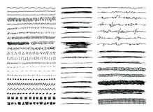 Hand Drawn Line Borders, Strokes and Scribbles. Set of hand drawn line borders, sketch strokes, scribbles and design elements isolated on white. Doodle style Royalty Free Stock Photography