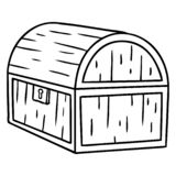 Hand drawn line drawing doodle of a treasure chest. A creative line drawing doodle of a treasure chest vector illustration