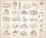 Hand drawn line graphic illustration of assorted food Stock Photography