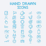 Hand drawn line icons business management company Royalty Free Stock Photography