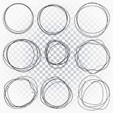 Hand drawn line sketched circles set. Scribble doodle circles for message mark design element. stock illustration