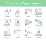 Hand drawn line style icon set : Business Presentatio, Business People Management, Leader Training, Audience and more Royalty Free Stock Image