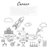 Hand drawn line vector doodle of concept of career growth stock illustration