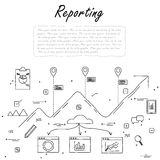 Hand drawn line vector doodle of concept of reporting and statis. Tics. also represents business reporting, financial communication and investment, analytical Royalty Free Stock Photography