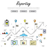 Hand drawn line vector doodle of concept of reporting. And statistics. also represents business reporting, financial communication and investment, analytical Royalty Free Stock Images
